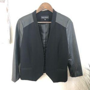 Black Rainn Faux Leather Sleeve Blazer